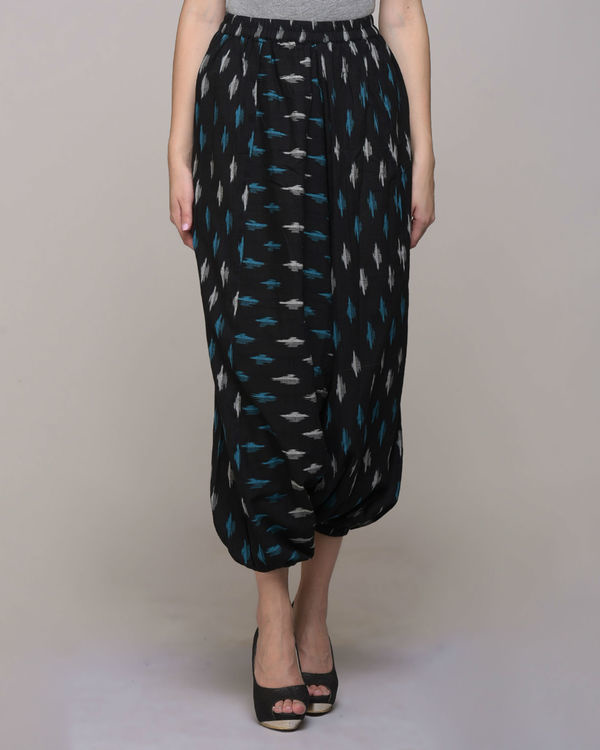 Black cotton ikat harem pant 1