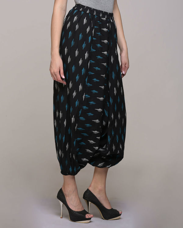 Black cotton ikat harem pant 3