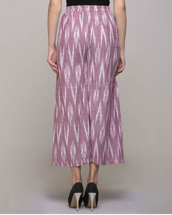 Pink ikat pleated cotton pant 1