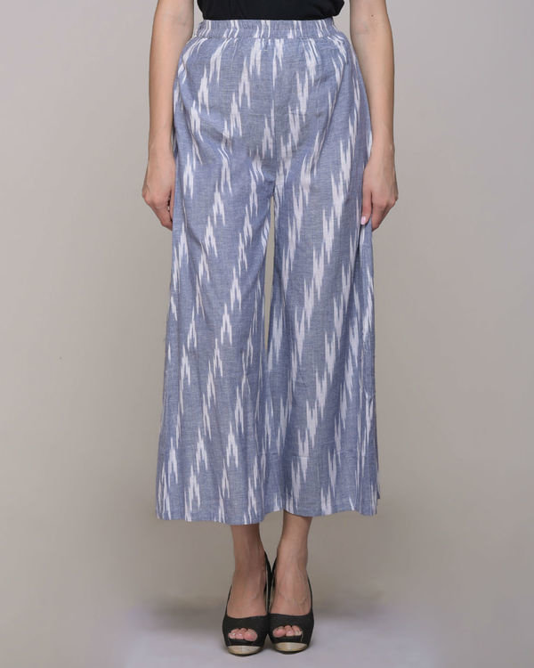 Blue ikat cotton pleated pant 3