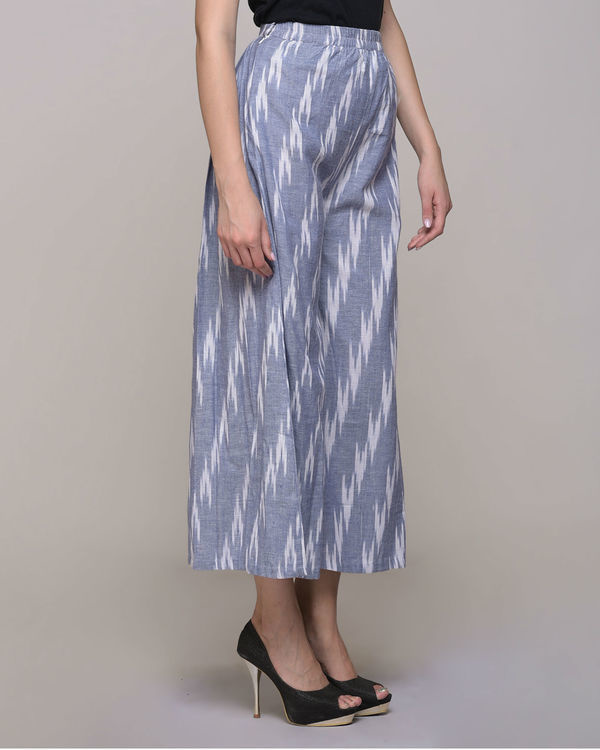 Blue ikat cotton pleated pant 2