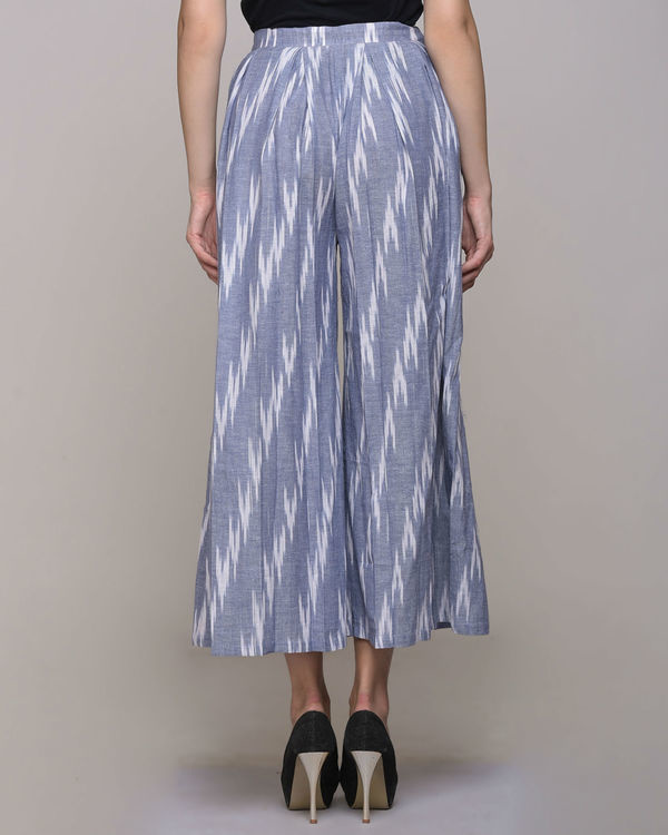 Blue ikat cotton pleated pant 1