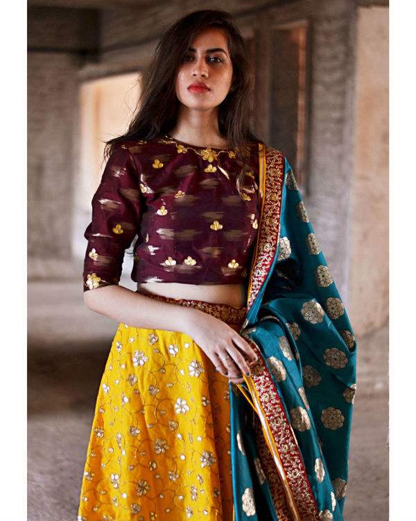 Maroon and queen gold yellow ghagra set 2