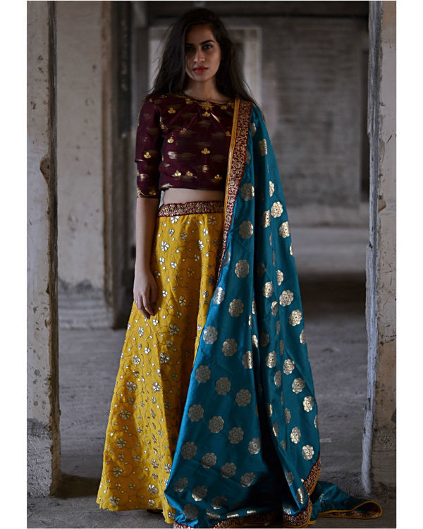 Maroon and queen gold yellow ghagra set 1