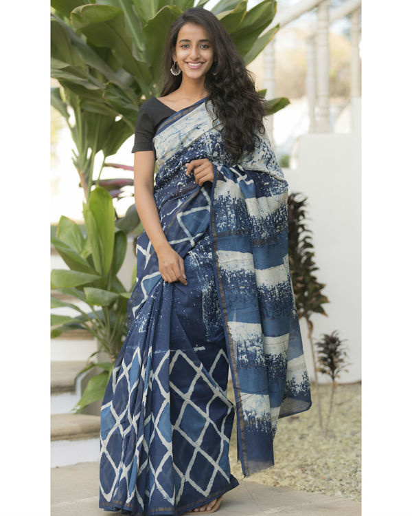 Indigo diamond sari 1