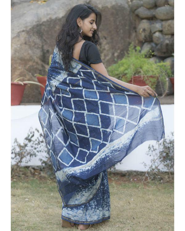 Indigo blue dotted sari 2