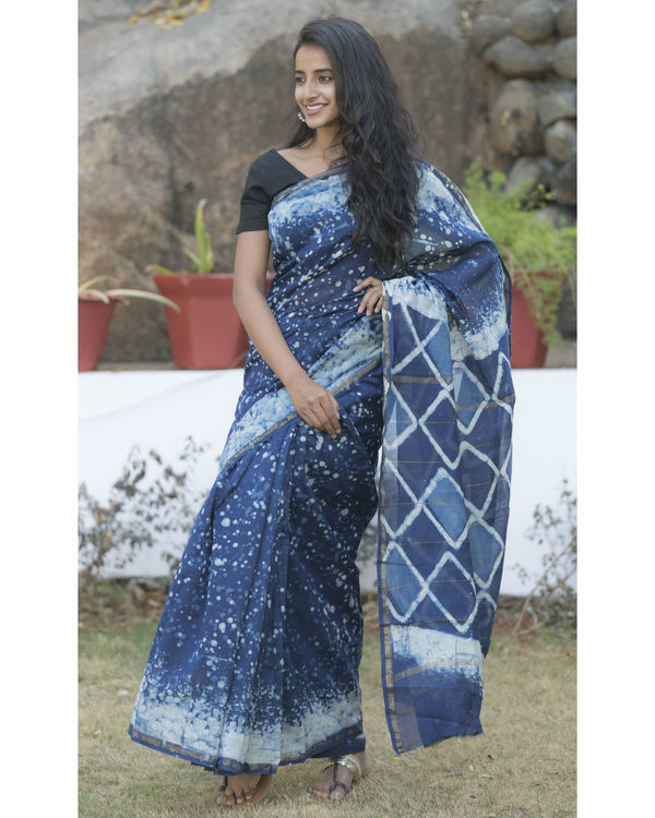 Indigo blue dotted sari 1