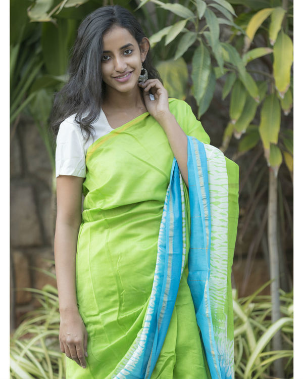 Blue green tie dye sari 3