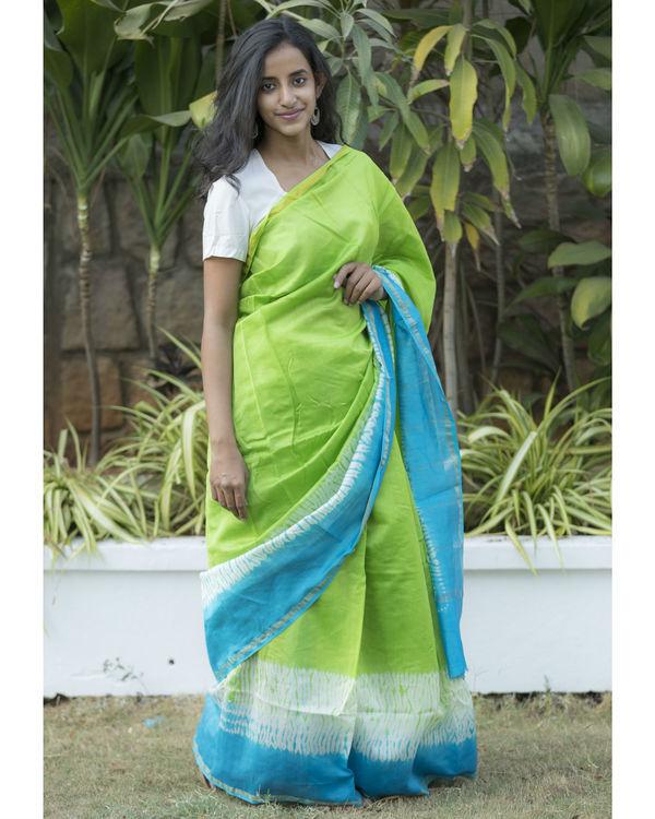 Blue green tie dye sari 2