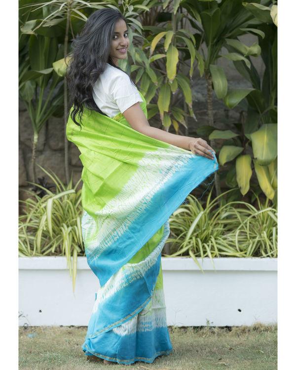 Blue green tie dye sari 1