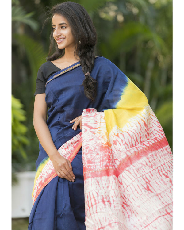 Multi bordered navy sari 3