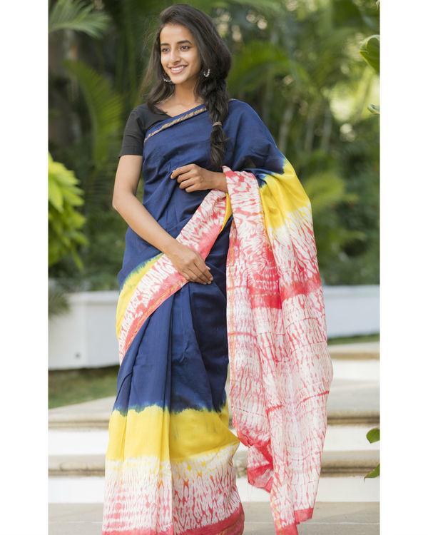 Multi bordered navy sari 1