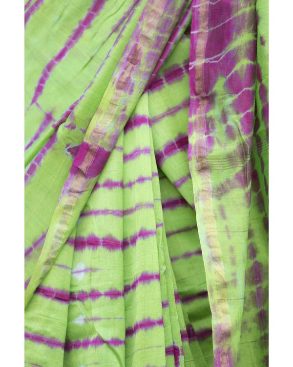 Parrot green and pink chanderi sari 3