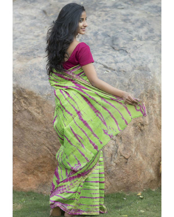 Parrot green and pink chanderi sari 2