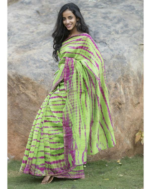 Parrot green and pink chanderi sari 1