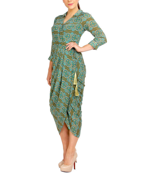 Green printed dhoti dress 1