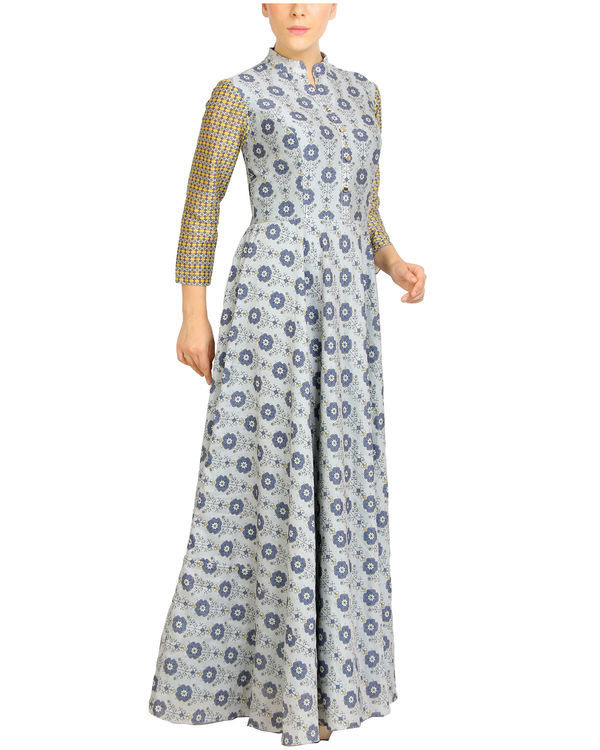 Flared grey printed maxi 2