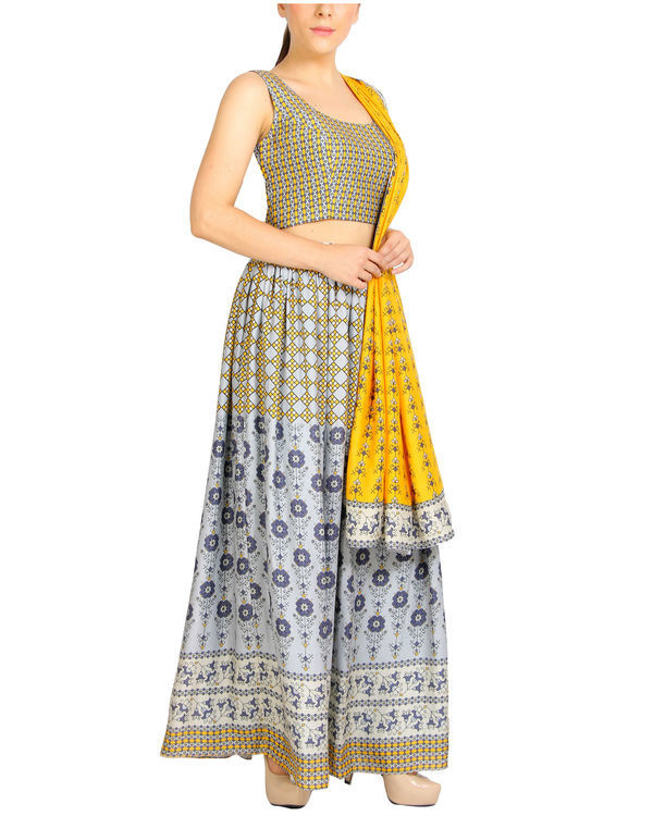 Mustard and grey lehenga set 2