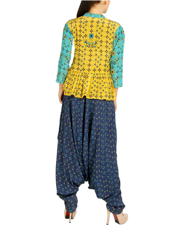 Blue harem jumpsuit with ruffled jacket 2