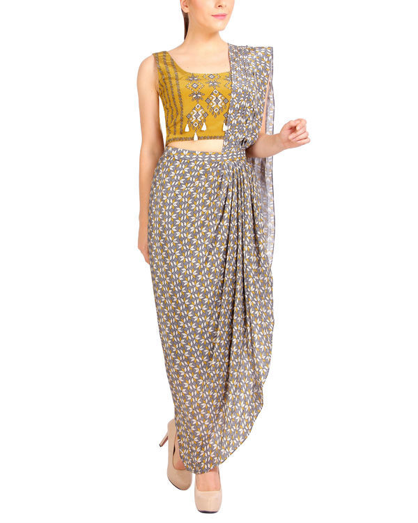 Mustard and grey draped sari 3