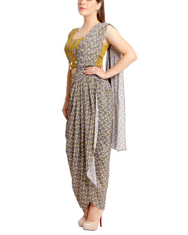 Mustard and grey draped sari 2