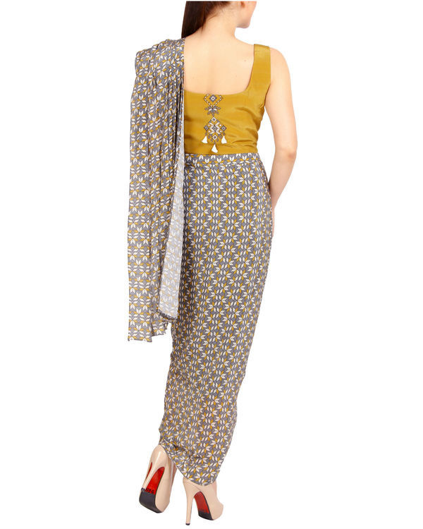 Mustard and grey draped sari 1