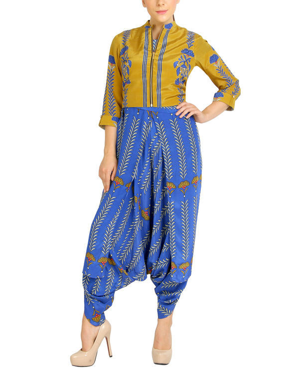 Blue printed jumpsuit with zipper jacket 2