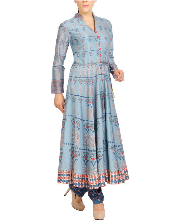 Flared blue tasseled kurta set 3