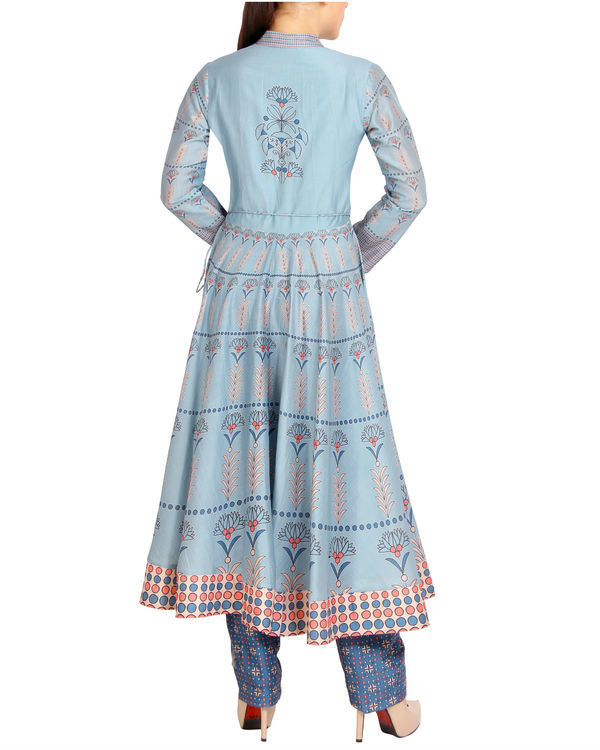 Flared blue tasseled kurta set 2