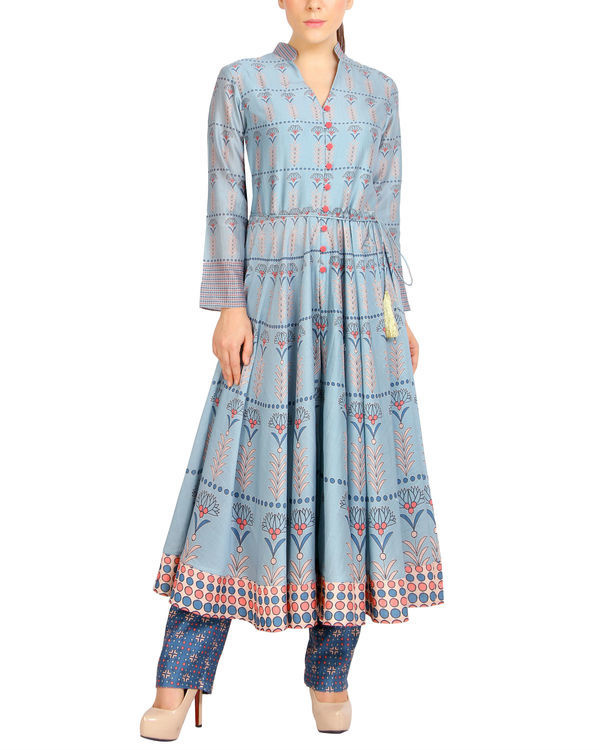 Flared blue tasseled kurta set 1