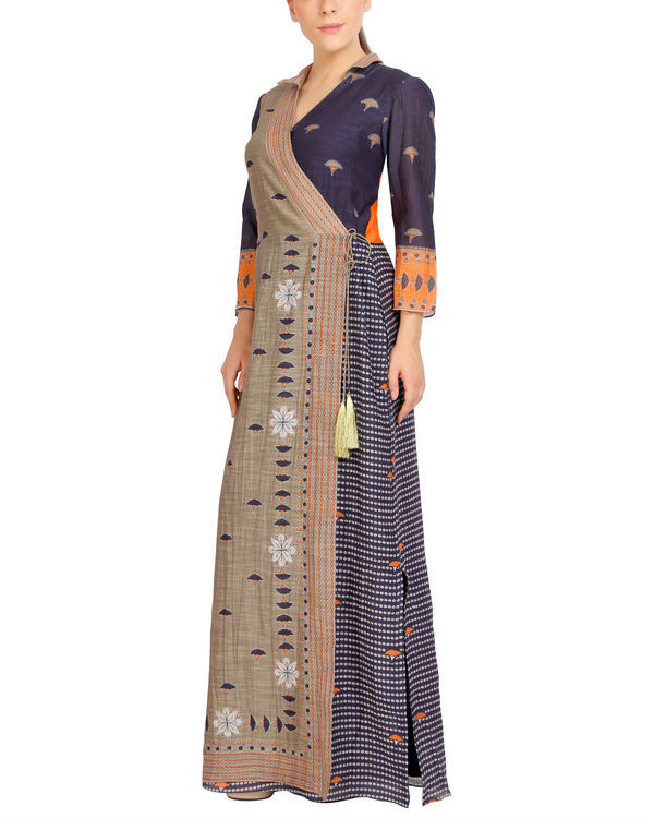 Charcoal flap dress with tassels 2