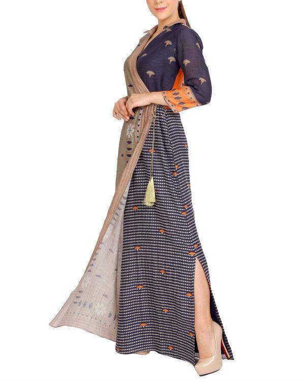 Charcoal flap dress with tassels 1