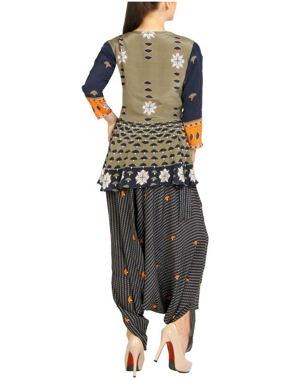 Navy printed ruffled dhoti jumpsuit 3