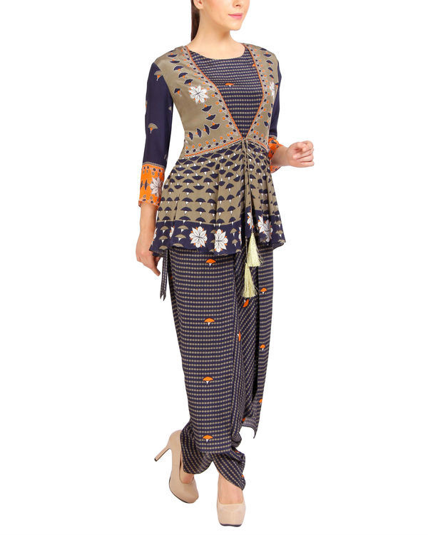 Navy printed ruffled dhoti jumpsuit 1