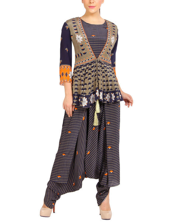 Navy printed ruffled dhoti jumpsuit 2