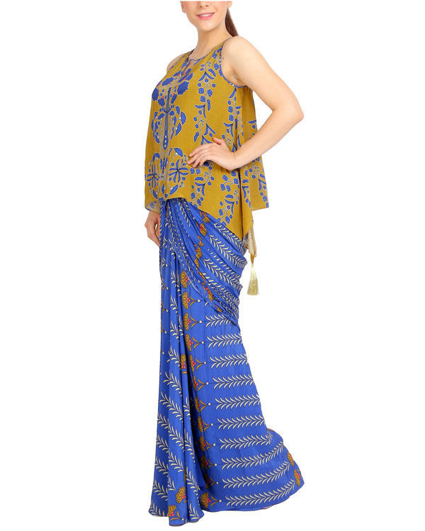 Blue and mustard draped set 1