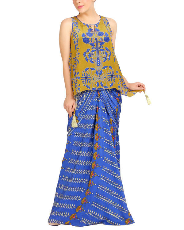 Blue and mustard draped set 2