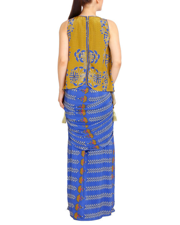 Blue and mustard draped set 3