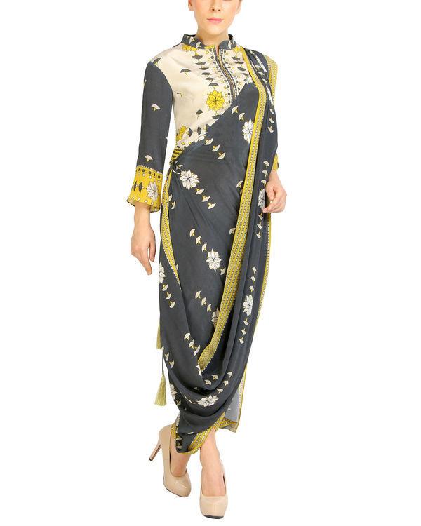 Charcoal printed draped sari 1