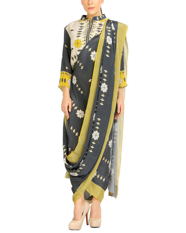 Charcoal printed draped sari 2