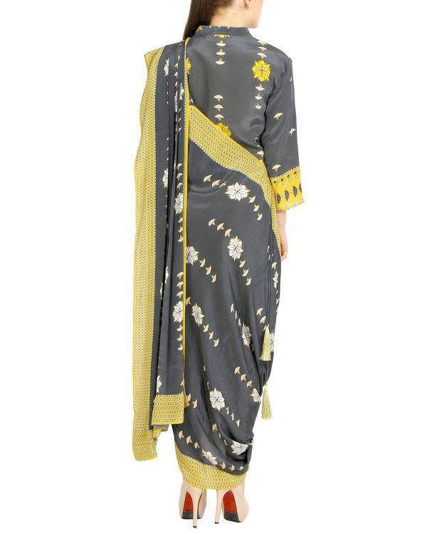 Charcoal printed draped sari 3