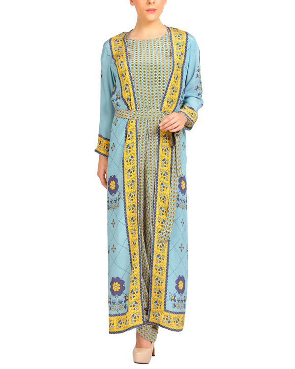 Sky blue and yellow harem printed jumpsuit 3