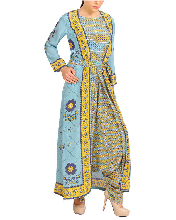 Sky blue and yellow harem printed jumpsuit 2