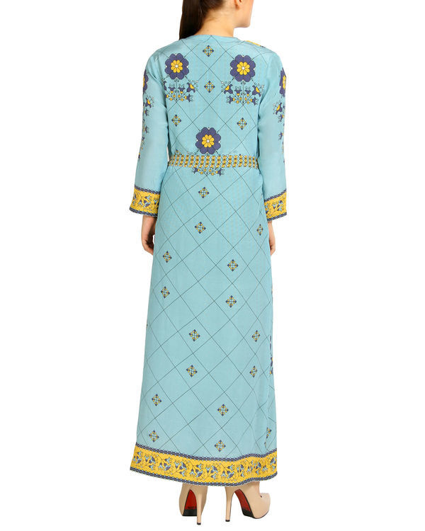 Sky blue and yellow harem printed jumpsuit 1
