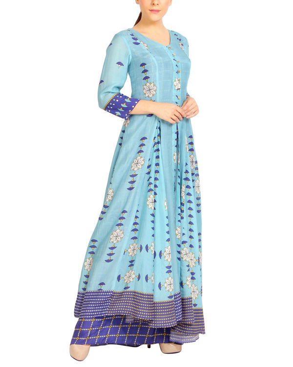 Shades of blue double layered dress 2