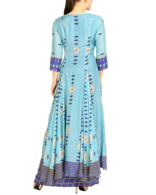 Shades of blue double layered dress 1