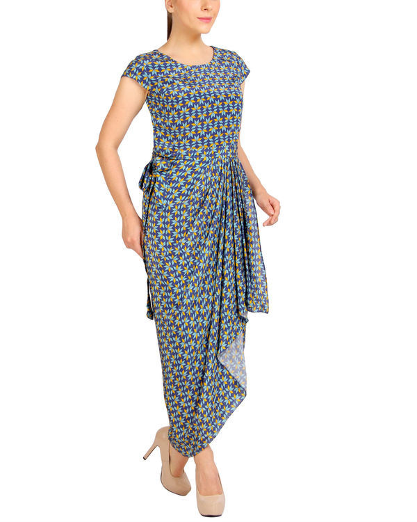Blue printed dhoti dress 2