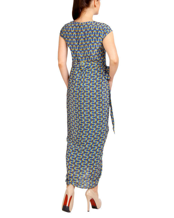 Blue printed dhoti dress 1