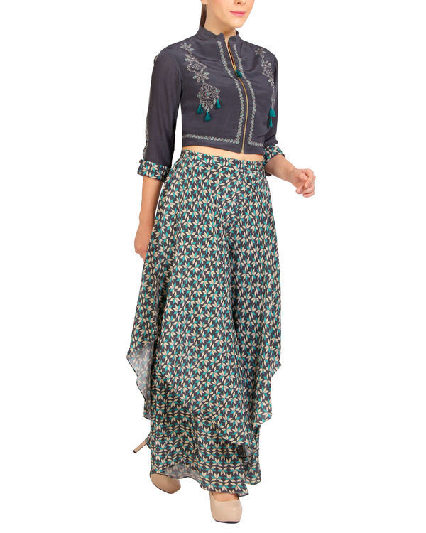 Tasseled zipper top with printed pants 1