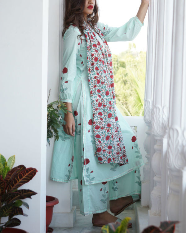 Sea green kurta palazzo set with dupatta 2